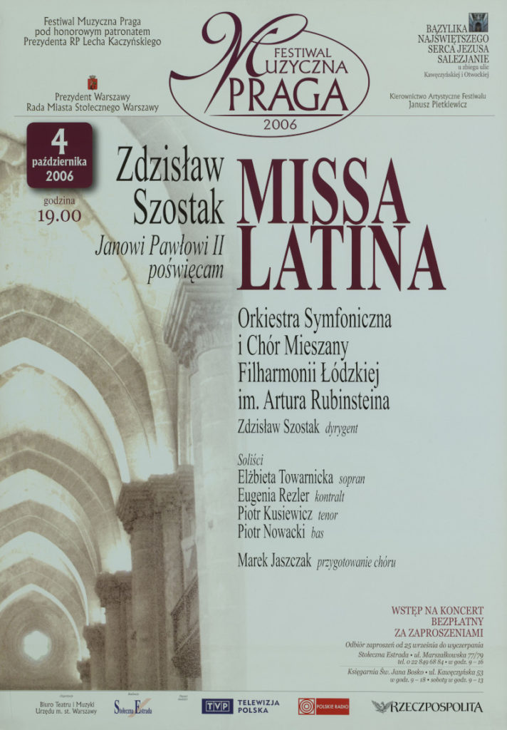 Na zdjęciu: afisz koncertu Zdzisław Szostak Janowi Pałowi II poświęcam - Missa Latina.